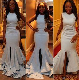 Wholesale Blue American Prom Dress - Split Ivory Satin Taffeta Nigeria African American Prom Dress Cheap O Neck Mermaid Split Long Arabic Evening Gowns