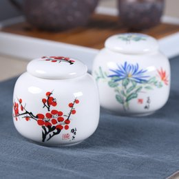 Wholesale Ceramic Tea Canisters - Free shipping Chinese style Tea box white ceramics Plant design Tea canister Seal tube Small Canister Home Decoration crafts