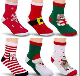 Wholesale Knit Kids Socks - Kids Christmas Socks For Children Thick Terry Socks Winter Soft Snowmen Snowflake Striped Xmas Cotton Knitted Kids Ankle Socks KKA2693