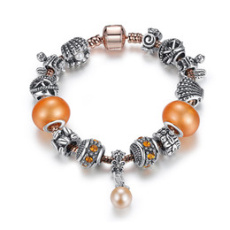 Wholesale Orange Pearl Bracelet - European Pandora Style Charm Bracelets with Orange Essence Love Beads & Golden Pearl Dangles Fashion Snake Chain Bangle Bracelets BL136