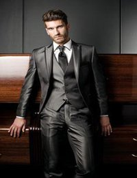 Wholesale Charcoal Grey Suits For Men - Wholesale-Charcoal kakhi grey tuxedos 2016 men's groom suits for wedding peak lapel groom tuxedos 2016 wedding suits for man 3 Pieces