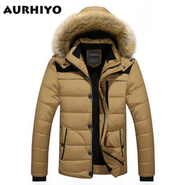 Wholesale Thick Men Winter Jacket - Fall-W102 2016 Men Winter Jackets Coats Warm Down Jacket Outdoor Hooded Fur Mens Thick Faux Fur Inner Parkas Plus Size Famous Brand
