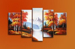 Wholesale 12x18 Wood Picture Frame - Hand Painted Landscpae Oil Painting Autumn Trees Landscape 5 Panels Wood Inside Framed Hanging For Home And Wall Decoration