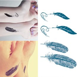 Wholesale Male Temporary Tattoos - 1 Sheet Fashionable Waterproof Temporary Tattoo Sticker Female And Male Couple Models Feather Pattern Of Small Fresh Tattoo