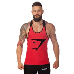 Wholesale Sports Singlets For Men - Men's Bodybuilding Muscles Print Vest For Mens Cotton Loose Plus Size Sports Gym Fitness Tank Tops Sleeveless Singlet Undershirt