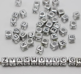 acrylic alphabet cube Coupons - Hot ! 250 pcs 6mm silve Black Acrylic Cube Letter Alphabet Beads spacer Big hole Beads
