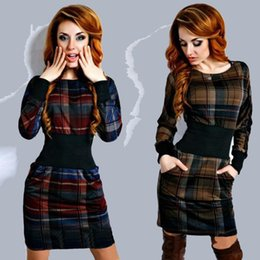 Wholesale Elegant Dresses For Womens - Autumn And Winter plaid Skirt Lattice Printing Split Joint Long Sleeve Self-cultivation elegant Dress cheap dresses for womens