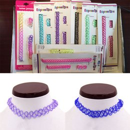 Wholesale Elastic Line For Bracelet - Vintage hippy stretch tattoo choker necklaces bracelet rings Elastic lines Punk Grunge Statement Jewelry for women wholesale free shipping