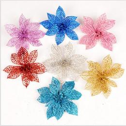 Flores azules de navidad online-Glitter Hollow Flowers Wedding Party Decor Flores de Navidad Tree Decoration 10cm Gold Pink Blue Silver New 6 Color