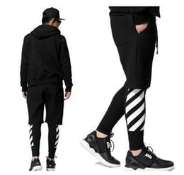 Wholesale Black White Patterned Leggings - Wholesale-Pyrex 2015 off white stripe printed hiphop hip-hop lovers mens hiphop legging ktz fashion brand man leggings