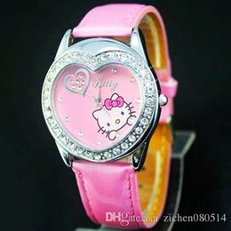 Wholesale Heart Shape Watches - Fashion Women Girl Hello kitty KT cat style heart-shaped dial Leather strap Wrist Watch