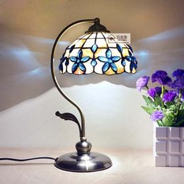 Wholesale Classical Study Table - 8 Inch Blue Lilac Shell Lamp Mediterranean Bedroom Bedside Table Lamp European Style Lamps Classical Garden Lamps