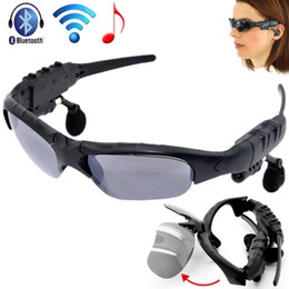 Wholesale Good Bluetooth Handsfree - Sunglasses Bluetooth Headset Wireless Sports Headphone Sunglass Stereo Handsfree Earphones MP3 Music Player with Retail Package good quality