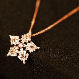 Wholesale Gold Chain Link Costume Necklace - Hot Sale five-pointed star Luxury Necklace & Pendant Women Fashion Choker Necklace for Party Collar Costume Zircon Jewelry Gold Plated