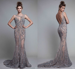 Wholesale Full Length Formal Dresses - Charming Full Beaded See Through Evening Dresses Sexy Open Back Mermaid Sheer Prom Dresses Tulle Sweep Train Sexy Women Formal Wear