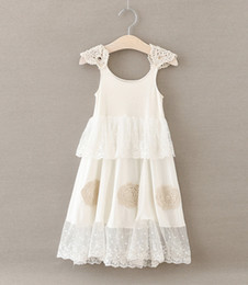 Wholesale Kids Crocheted Dresses - Girls princess dress New children lace crochet fly sleeve tulle long dress kids lace embroidered party dress Girls Pageant Dresses A0059