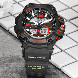 Wholesale Read Dial - ristwatch large READ tops brand military sports Dial Large digital clock Relogio electronic wrist watches for men Silicone montre Chronog...