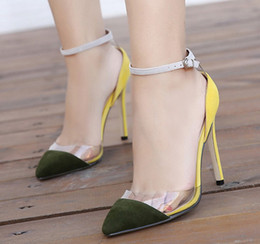 Wholesale Transparent Yellow Tape - 2016 New Arrival Transparent Tape Panelled Color Lower-Cut Sexy Women's Sandals
