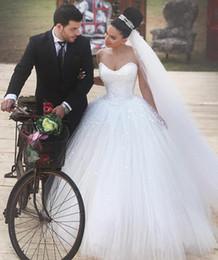 Wholesale Sleevless Wedding Dresses - Robe de Mariee Sirene Said Mhamad White Wedding Dresses Sweetheart Sleevless Ball Gown Wedding Dress Pearls Tulle Formal Women Bridal Gowns