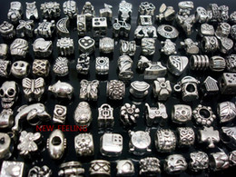 Wholesale Jewelry Making Metal Heart Charms - 100pcs mixed Tibet Silver Beads for Jewelry Making Loose Alloy Metal Charms DIY Hole Beads for European Bracelet Wholesale in Bulk Low Price