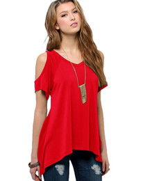 Wholesale T Shirt V Collar - 2017 Brand clothing summer V pure cotton short sleeved Strapless collar fishtail hem female T-shirt Free shipping S-XXXL