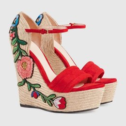 Wholesale red suede wedges - Embroidered Suede Platform Espadrille Women Floral Gladiator Sandals Metallic Adjustable Ankle Strap Pumps Wedges Mary Jane Shoes