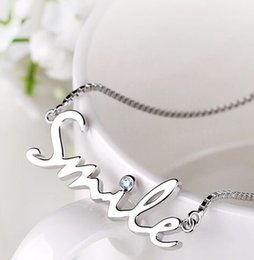 Wholesale Smile Letters - Exquisite S925 Silver Rhinestone Smile Letter Pendant necklace Short Chain clavicle chain