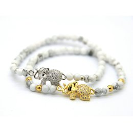 Wholesale Elephant Ring Gold White - Hot Sale 1PCS Retail Jewelry 4mm Natural Stone Beads with Micro Inlay Zircon Elephant Lucky Bracelets