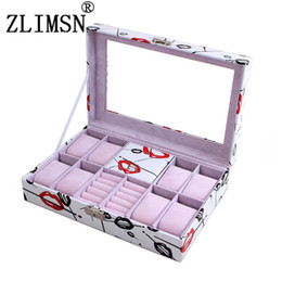 Wholesale Fashion Window Displays - Wholesale-12 Grid Fashion Pink Women Girls Open Window Watch Box Refinement Slots Wrist Watches Gift Case Jewelry Display Boxes Storage