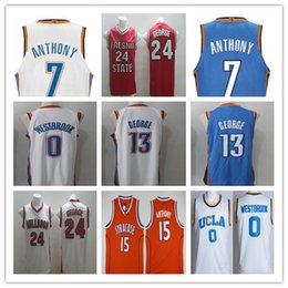 Wholesale Paul George Jersey - 2017 2018 New Season #7 Carmelo Anthony Jerseys Cheap Newest Oklahoma City #0 Russell Westbrook Blue White Stitched #13 Paul George Jersey