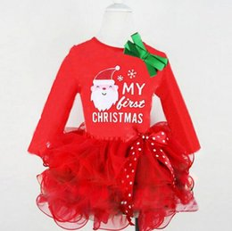 Wholesale Zebra Dresses Kids - Kids Girls Lace Bowknot Christmas dress Newborn Baby Santa Claus Tutu Infant Cake Dresses Party Costume cake Dress KKA2400