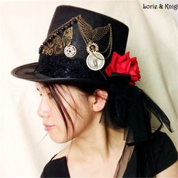 Wholesale Steampunk Costume Accessories - Wholesale-Ladies Gothic Lolita Cosplay Butterfly & Gear Black Victorian Steampunk Top Hat Normal Head Size