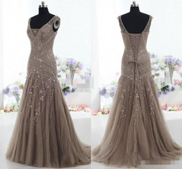 Wholesale Mother Bride Lace Tulle Dress - Actual Images 2015 Vintage Mother of the Bride Dresses Mermaid V Neck Applique Beads Tulle Corset Custom Made Mother Formal Evening Gowns