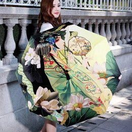 Wholesale Uv Parasols - Free Shipping Vintage Printed Rain Umbrella Women Anti UV Parasol Folding Umbrella Outdoor Sun Rain Umbrella JL0002