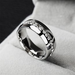 Wholesale White Gold Ring Mens - luxury Fashion rings Stainless Steel Crystal Wedding Rings For Women Men Top Quality Gold Plated mens ring jewelry gold silver color