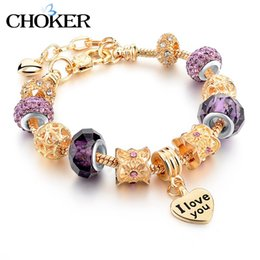 Wholesale Turkish Beads Wholesale - Wholesale-Rose Gold Love Charm Bracelets & Bangles For Women Crystal Beads Friendship Bracelet Femme Famous Brand Turkish Jewelry 2016