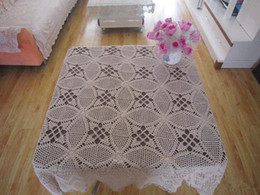 Wholesale Cotton Square Crochet Tablecloth - Crocheted Doilies Inches square tablecloth, 100% handmade crochet table topper suqare, Vintage style crochet tablecloth for home decorative