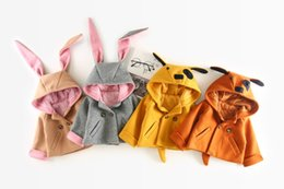 Wholesale Wholesale Double Breasted Girls Coat - 4 colors INS new autumn winter style baby girl Double breasted cotton cartoon animal long sleeve Fashion Hooded Coat