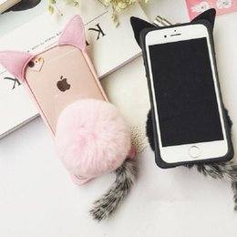 Wholesale Ear Covers Cat - Hot Sale Cute Cartoon Fur Ball Cat Ears Silicone Case Cover for iphone 5s 6s 7 plus Cat Tail Plush Phone Case