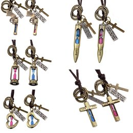 Wholesale Bohemian Lamps - Time hourglass sweater chain necklace bullet Aladdin's lamp Love cross pendant Pistol time hourglass couple necklace 161341