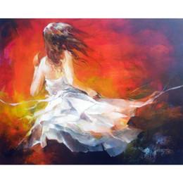 Pinturas a óleo on-line-Pinturas a óleo figurativas artesanais Jovem no vento arte moderna Willem Haenraets reprodução da lona