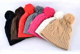 Wholesale Girls Skiing - Fashion Brand skullies cap female autumn and winter knit hat new hair ball marcas caps sport ski hats for women beanies girls gifts
