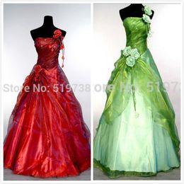 Stokta 2016 En Ucuz Quinceanera Elbiseler Tek Omuz Gelinlik Modelleri Bordo Yeşil Quinceanera Törenlerinde Straplez Ruffles Resmi Elbiseler nereden pembe boncuklu ceket tedarikçiler