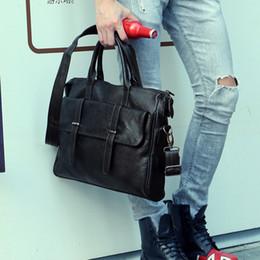 Wholesale File Slots - Wholesale- Designer File package Men's bag 14 inch laptop pu leather messenger bags men briefcases bags portfolio 38.5*30*5.5cm business