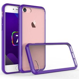 """Wholesale Iphone Covers Bumper Purple - for Apple iPhone 7 Crystal Acrylic Purple Cell Phone Cases Mobile Phone Back Cover 4.7"""" Shell Bumper Protector Skim Shockproof Light Thin"""