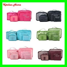 Wholesale Luggage Wholesalers - 6pcs set Fashion Double Zipper Waterproof Travelling Bags Men Women Nylon Luggage Packing Cube Bag Underware Bra Storage Bag Organizer
