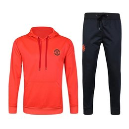Wholesale Tights Men Suit - Top quality 2017 Survetement football man hooded jacket training tracksuit Soccer 16 17 united training shinny tight pant sweater suit