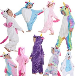 Wholesale Baby Horse Clothes - Kids Flannel Unicorn Animal Pajamas Baby Cosplay Cartoon Horse Sleepwear Boys Girls Pyjamas Home Clothes 9 Styles OOA3341