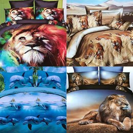 Wholesale Tiger Style Bedding - 3D animal leopard rose tiger wolf lion bedding Fabric density 120x60 tabby Polyester Four piece suit