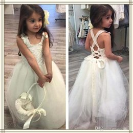 Wholesale Pinterest Wedding Dresses - Pinterest Hot Lace And Tulle White Flower Girls Dresses 2017 Christmas Sleeveless Lace Up Sweep Train Tutu Little Girls Pageant Gowns